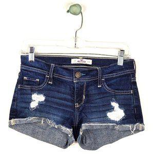 Hollister Distressed Blue Denim Shorts Size 0/24